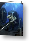 Special Delivery Greeting Cards - A Navy Seal Prepares To Launch One Greeting Card by Stocktrek Images
