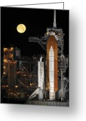 Space Travel Greeting Cards - A Nearly Full Moon Sets As Space Greeting Card by Stocktrek Images