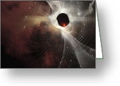 Twinkle Greeting Cards - A Nebula Forms Gossamer Cobweb Like Greeting Card by Corey Ford