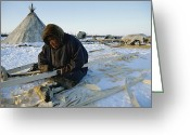 World Culture Greeting Cards - A Nenets Man Works Upon A Wooden Frame Greeting Card by Maria Stenzel