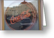 Logos Greeting Cards - A Neon Coca Cola Sign Is Displayed Greeting Card by Richard Nowitz