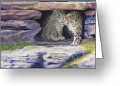 Forest Pastels Greeting Cards - A New Day - Snow Leopards Greeting Card by Tracy L Teeter