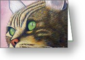 Feline Painting Greeting Cards - A New Day Greeting Card by Brian  Commerford