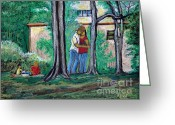 Montreal Summer Scenes Greeting Cards - A Nice Day in Dominion Square  Greeting Card by Reb Frost