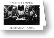 Grayton Beach Greeting Cards - A night at the Red Bar Greeting Card by JOSEPH Sekora