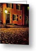 Cobblestone Street Greeting Cards - A Night in Charleston Greeting Card by Eggers   Photography