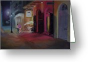 Evening Scenes Pastels Greeting Cards - A Night on the Town Greeting Card by Marcus Moller