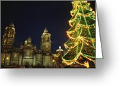 Decoration And Ornament Greeting Cards - A Night View Of A Lighted Christmas Greeting Card by Raul Touzon
