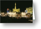 City Lights And Lighting Greeting Cards - A Night View Of The Water And Light Greeting Card by Heather Perry