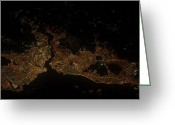 Marmara Greeting Cards - A Nighttime View Of Istanbul, Turkey Greeting Card by Stocktrek Images