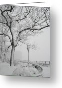 Snow Storm Greeting Cards - A Noreaster in Brooklyn Greeting Card by Christopher Kirby