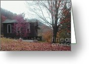 Last To Fall Greeting Cards - A One Room Old School In West Virgina Greeting Card by Vonicia Verton
