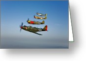 Curtiss Kittyhawk P-40 Greeting Cards - A P-36 Kingcobra, Two Curtiss P-40n Greeting Card by Scott Germain
