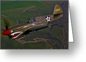 Airplane Greeting Cards - A P-40e Warhawk In Flight Greeting Card by Scott Germain