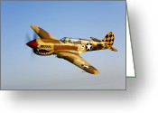 Curtiss Kittyhawk P-40 Greeting Cards - A P-40n Warhawk In Flight Greeting Card by Scott Germain