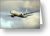 Military Vehicle Greeting Cards - A P-8a Poseidon In Flight Greeting Card by Stocktrek Images