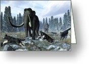 Natural History Greeting Cards - A Pack Of Dire Wolves Crosses Paths Greeting Card by Walter Myers
