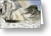 Cliff Dwellers Greeting Cards - A Painting Depicts A Prehistoric Greeting Card by Jack Unruh