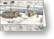 Extinct Greeting Cards - A Painting Depicts Ice Age People Greeting Card by Jack Unruh