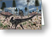 Dinosaurs Digital Art Greeting Cards - A Pair Of Allosaurus Dinosaurs Confront Greeting Card by Mark Stevenson