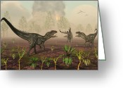 Dinosaurs Greeting Cards - A Pair Of Allosaurus Dinosaurs Tracking Greeting Card by Mark Stevenson
