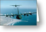 Us Air Force Greeting Cards - A Pair Of C-130 Hercules In Flight Greeting Card by Stocktrek Images