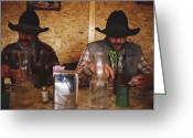 Cowboy Hats Greeting Cards - A Pair Of Cowboys Enjoy A Cup Of Coffee Greeting Card by Joel Sartore