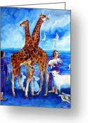 Noahs Ark Painting Greeting Cards - A Pair of Giraffes Greeting Card by Trudi Doyle