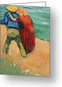 Valentine Greeting Cards - A Pair of Lovers Greeting Card by Vincent Van Gogh