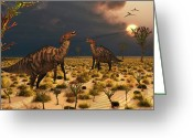 Dinosaurs Greeting Cards - A Pair Of Parasaurolophus Duckbill Greeting Card by Mark Stevenson
