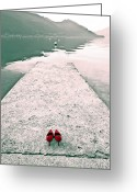 Banks Greeting Cards - A Pair Of Red Womens Shoes Lying On A Walkway That Leads Into A Greeting Card by Joana Kruse