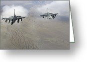 Smart Greeting Cards - A Pair Of U.s. Air Force F-16c Fighting Greeting Card by Stocktrek Images