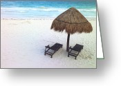 Atlantic Beaches Greeting Cards - A palm frond umbrella Greeting Card by National Geographic