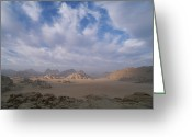 Desolate Landscapes Greeting Cards - A Panoramic View Of The Wadi Rum Region Greeting Card by Gordon Wiltsie