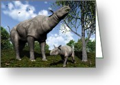 Tree Creature Greeting Cards - A Paraceratherium Mother Grazes Greeting Card by Walter Myers