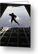 Romania Greeting Cards - A Paratrooper Salutes As He Jumps Greeting Card by Stocktrek Images