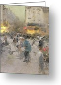 Luigi Greeting Cards - A Paris Street Scene Greeting Card by  Luigi Loir