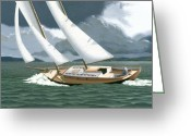Sailboat Greeting Cards - A passing squall Greeting Card by Gary Giacomelli