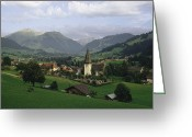 Graves And Tombs Greeting Cards - A Pastoral View Of A Village Greeting Card by James P. Blair