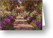 Tree Lines Greeting Cards - A Pathway in Monets Garden Giverny Greeting Card by Claude Monet