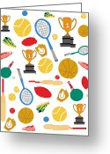 Table Tennis Greeting Cards - A Pattern Of Sports Equipment And Trophies Greeting Card by Michelle Dybing