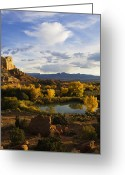 Yellow Trees Greeting Cards - A Peaceful Landscape Stretches Greeting Card by Ralph Lee Hopkins