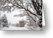 Four Corners Greeting Cards - A Peaceful Winter Scene Greeting Card by Ralph Lee Hopkins