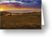 English Countryside Print Greeting Cards - A Peak District Sunrise Greeting Card by Darren Burroughs