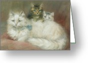 Laying Down Greeting Cards - A Persian Cat and Her Kittens Greeting Card by Maud D Heaps