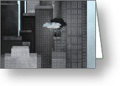 Misfortune Greeting Cards - A Person On A Skyscraper Under A Storm Cloud Getting Rained On Greeting Card by Jutta Kuss