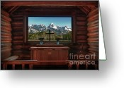 Cabin Window Greeting Cards - A Pew With A View Greeting Card by Sandra Bronstein