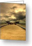 Wood Floor Greeting Cards - A Pier Greeting Card by Svetlana Sewell
