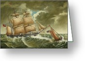 Eric Bellis Greeting Cards - A Pilot Boat Heading Back to Port as a Three-masted Barque Heads out to Sea Greeting Card by Eric Bellis