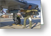 Paveway Greeting Cards - A Pilot Inspects A Gbu-12 Laser Guided Greeting Card by HIGH-G Productions